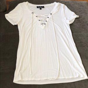 White lace up shirt
